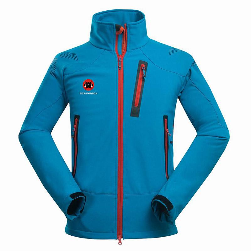 Winter Outdoor Male Soft shell Windbreaker Jacket Waterproof Thermal Mountain Climbing Sports Anti-UV Fleece Breathable Jacket