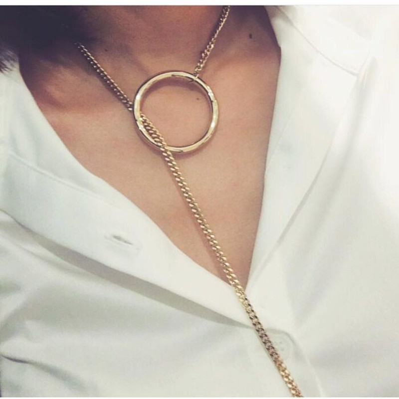 2018 New Arrival Special Design Pendant Necklace Big Round Charms Chain Necklace Long Statement Choker Personality Gift NS4126