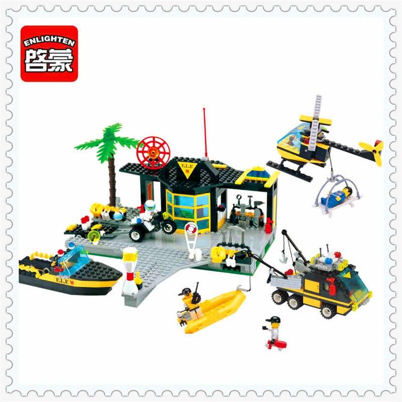 ENLIGHTEN 111 Maritime Rescue Centre Boat Helicopter Building Block Compatible Legoe 528Pcs   Toys For Children Compatible Legoe maritime safety