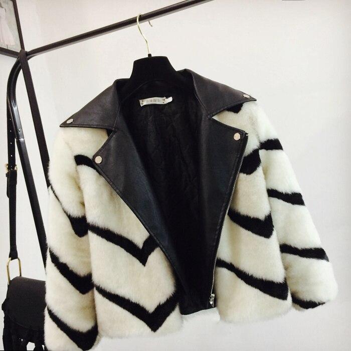 Outwear Mode Col Éclair En Fermeture Fourrure Nouvelles 2018 Veste Manteau Femmes Hiver down Courte De Spliced Faux Cuir Turn Blanc Chaud Lâche Rayé gSxI1q