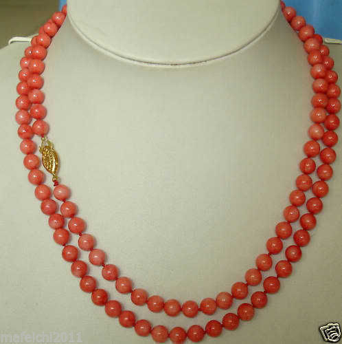 35new design long natural 6mm red coral necklace