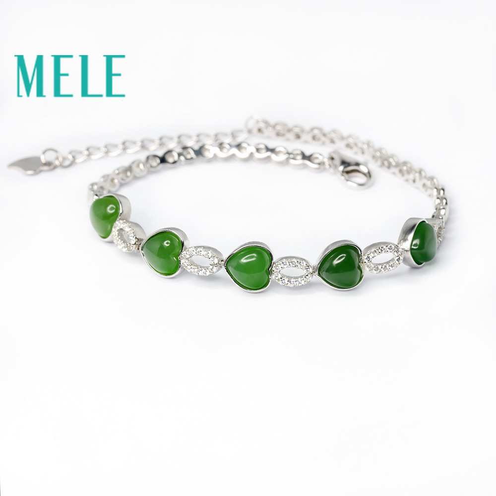 MELE Natural green hetian jade bracelet in 925 sterling silver for women and man,heart shape 6X5mm gemstone jasper jewelry mysterious green head heart bracelet