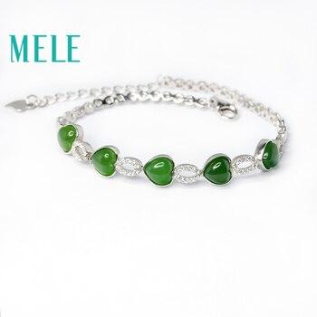 MELE Natural green hetian jade bracelet in 925 sterling silver for women and man,heart shape 6X5mm gemstone jasper jewelry