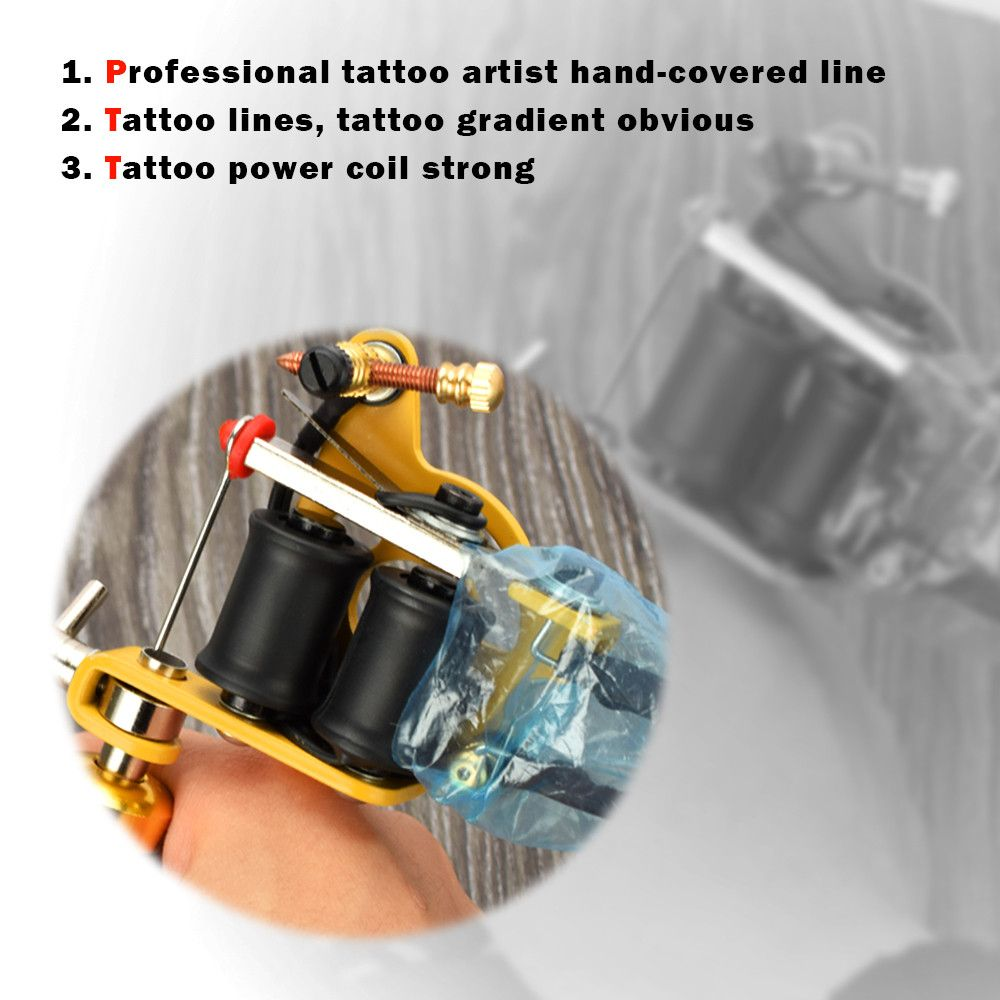hight resolution of black tattoo machine gun coils 10 wraps set parts supply tattoo body art professional tattoo accesories for shader liner in tattoo accesories from beauty