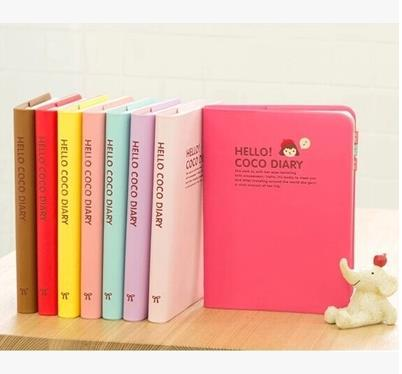 Cute Girl Plastic Cover Hello Coco Dairy Notebook Planner Colorful