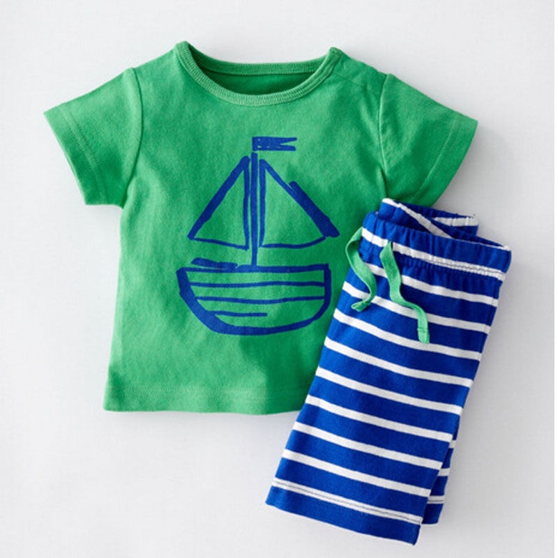 Summer Children's Clothing Toddler Boys Girls Sets Stripe Pirate Ship Printed  Baby Boy Tops +Pant Sets For Kids Clothes Shirt