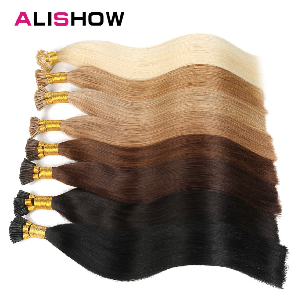 Alishow Spitze Ich Menschenhaarverlängerung 1 Gr/sek Remy Vor Verbundene 16 20 24 bunte 50g Gerade Haar Keratin Kapseln I Tip Haar Hohe Belastbarkeit I Tip