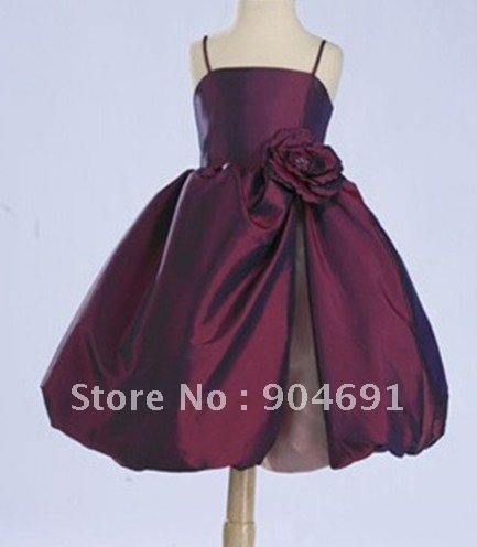 Short Burgundy Junior Bridesmaid Dress Spaghetti Straps with Flower Knee Length Flower Girl Dress with zipper Back