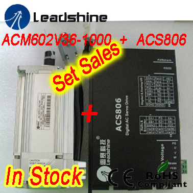 Set sales Leadshine ACM602V36-1000 200W Brushless AC Servo Motor and ACS806 servo drive with 20-80 VDC input ,18A current leadshine hbs86 easy servo drive with maximum 20 80 vdc input voltage and 8 5a peak current