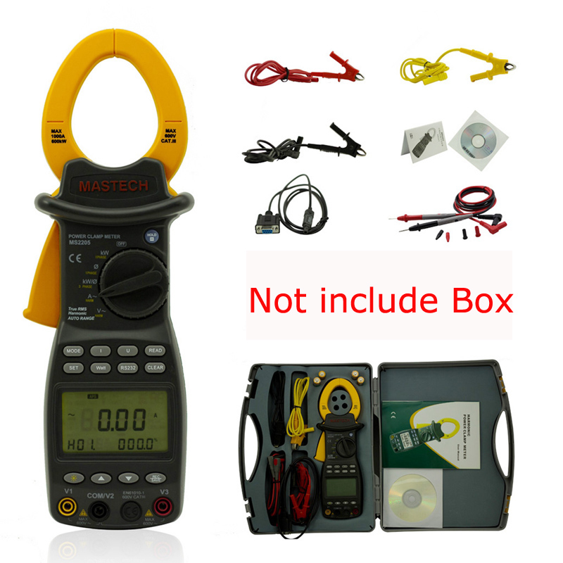 MASTECH MS2205 3 phase TRMS Digital clamp Meter power factor correction multimeter for V/A/W/VA/kVA/KVAR/Hz/kW/PF Free shipping