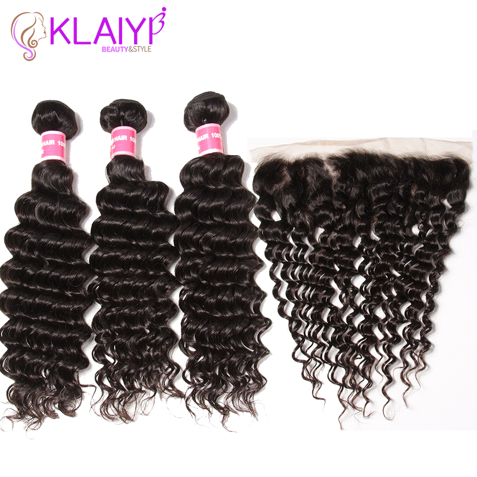Klaiyi Hair Bundles With Frontal Indian Hair Deep Wave Ear To Ear 13X4 Closure Remy Human Hair Weaves With Closure