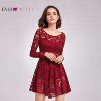 Clearance Sale Elegant Cocktail Dresses Ever Pretty AS05907 Round Neck Short Long Sleeves Burgundy Sheer