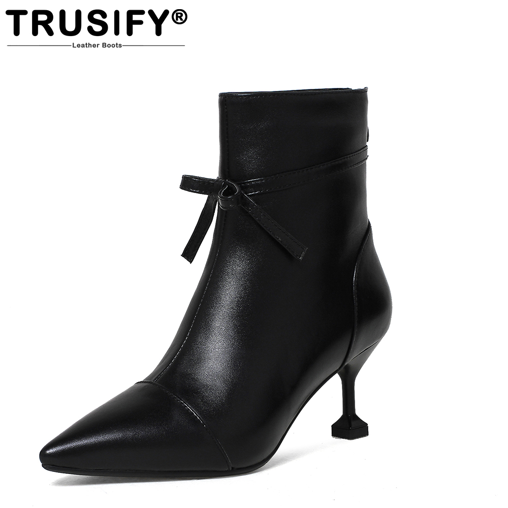 TRUSIFY 2018 Ohapart  Cow Leather Mid Calf Zip Comfortable short boots Pointed Toe High Thin Heels Booties High Heels Women double buckle cross straps mid calf boots