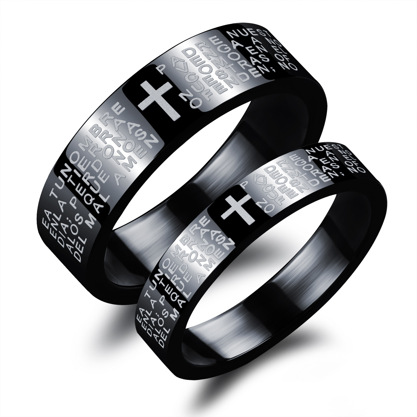 Aliexpresscom Buy Spanish Bible Cross Black Couple Rings Set