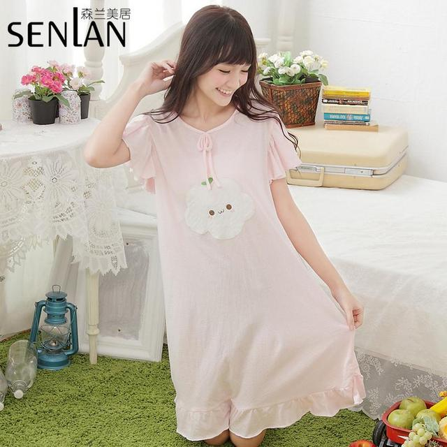 Wholesale Korean plus yards summer lovely nightgown ladies flounced solid color cotton sleep dress tracksuit w531