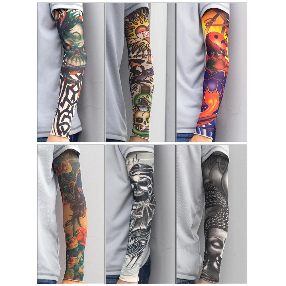 Tattoo Sleeve Arm Warmers Summer Print Mangas For Man Sleeve Seamless Summer Tattoo Stitched Outdoor Woman Riding Sleeve
