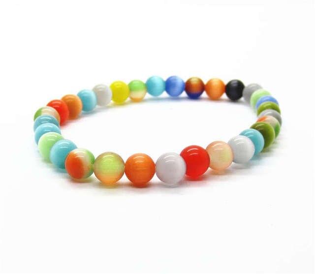 2017 Natural Cat Eye bracelet  6MM Mix color Cat eye round beads  fashion semi precious stone jewelry bracelet & bangle