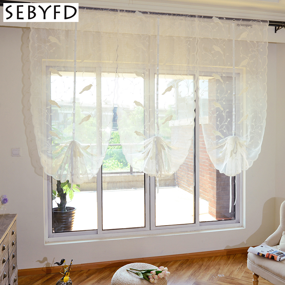 White tulle window curtain for bedroom living room decorative 3d bird embroidery pattern for Balloon curtains for living room