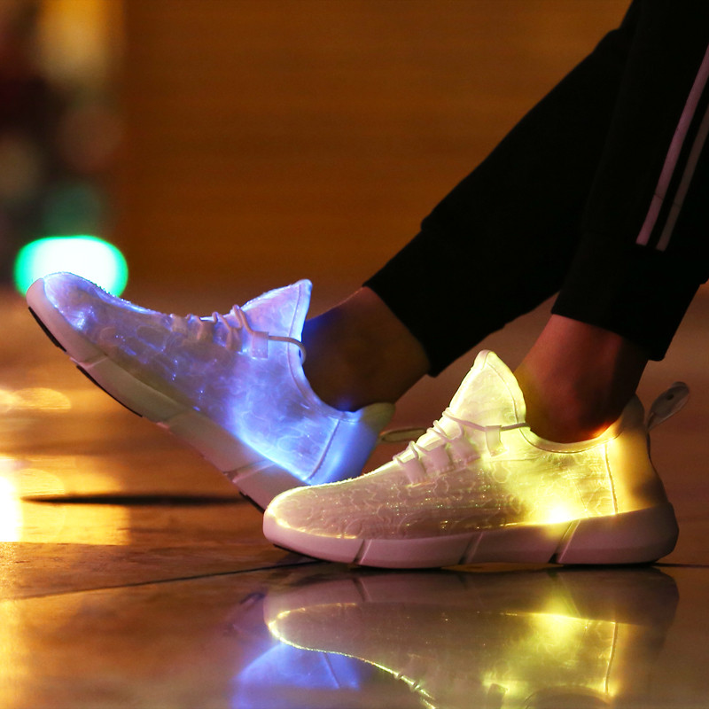 KINE PANDA Adult Big Kids Teens Girls Boys Glowing Sneakers Parents Fiber Optic Fabric Light Up Shoes USB Charging Black 25-45 why boys need parents