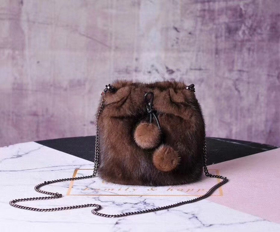 2019 Women Luxury Genuine Mink Fur Handbag Blue Classic Real Fur Bags Lady Super Fashion Mink Bags