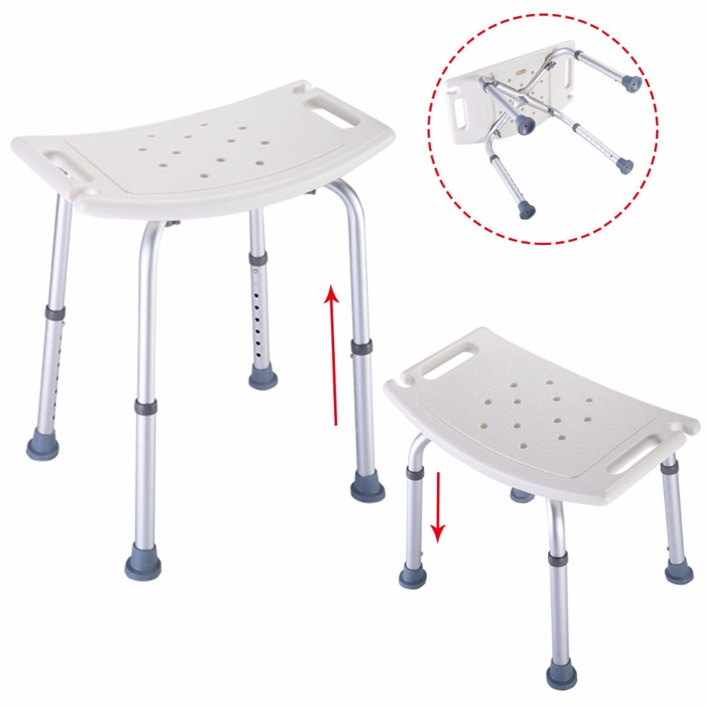 Goplus Bath Shower Chair Adjustable Medical 8 Height Bench Bathtub Stool Seat White New Modern Bathroom Shower Stools BA6929 baby seat inflatable sofa stool stool bb portable small bath bath chair seat chair school