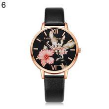 цена на Women Watches Ladies PU Leather Band Dress Casual Flower Pattern Quartz Wrist Watch relogio feminino zegarek damsk 2018