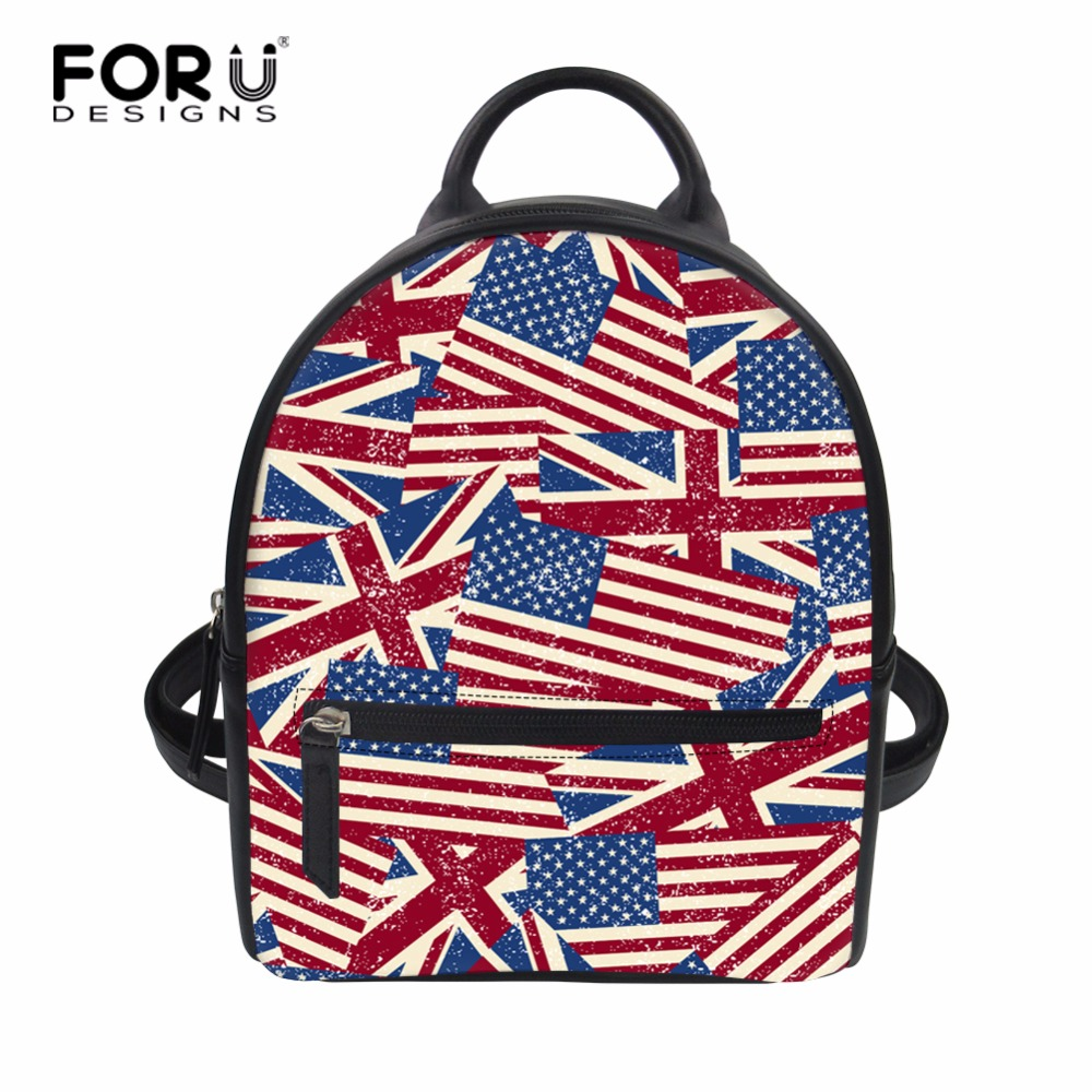 FORUDESIGNS Small Women Backpack National Flag Print Female Travel Back Pack for Teenage Girls Daily Use Mini String Daypack