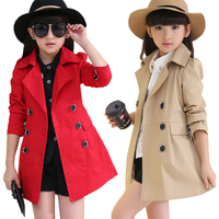 3 12Y Long 2018 Spring Autumn Girls Windbreaker Coat Outwear Double breasted Children Girls Jacket and Coats Kids Trench Coats
