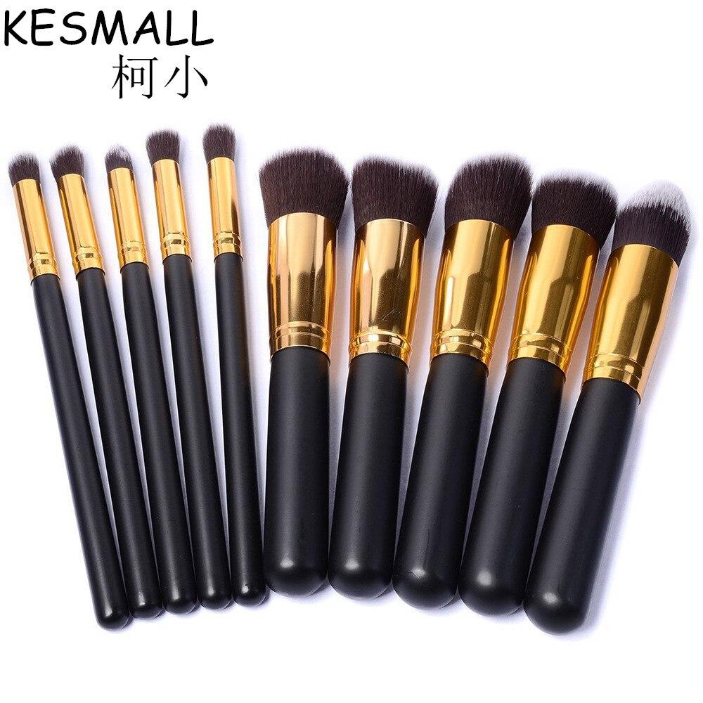 KESMALL 10PCS Facial Eyes Makeup Brushes Set Powder Contour Foundation Eye Shadow Brush Maquiagem Cosmetic Make Up Tools CO229 filorga optim eyes eye contour
