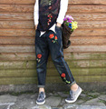 Mujeres Bordado Pantalones Vaqueros de Cintura Elástica Floral Bordado Pantalones de Mezclilla Empalmados Pantalones de Mezclilla Patchwork