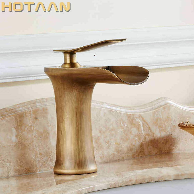 Free shipping Basin Faucet Antique Brass waterfall Bathroom Basin Sink Mixer Tap Crane,torneira YT-5086 цена