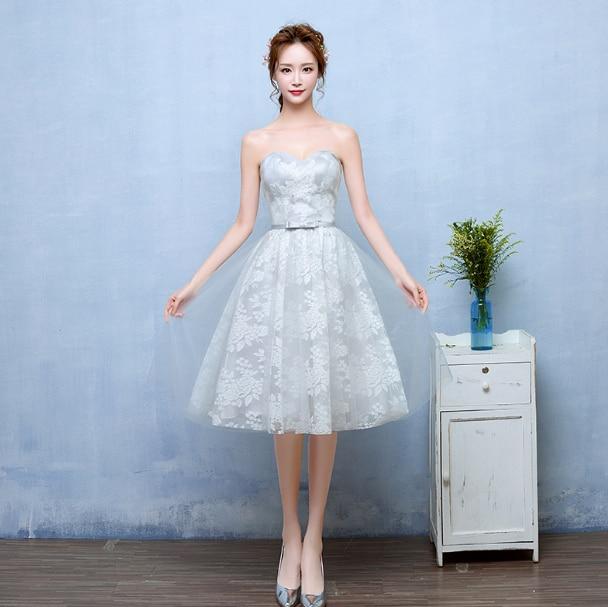strapless bridesmaid womens light gray summer girl appliques short ...