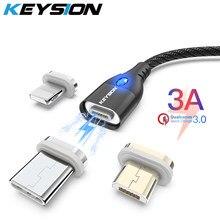 Câble magnétique KEYSION 3A Micro USB Type C pour Samsung S10 Xiaomi redmi USB C chargeur câble téléphone chargement rapide fil pour iPhone