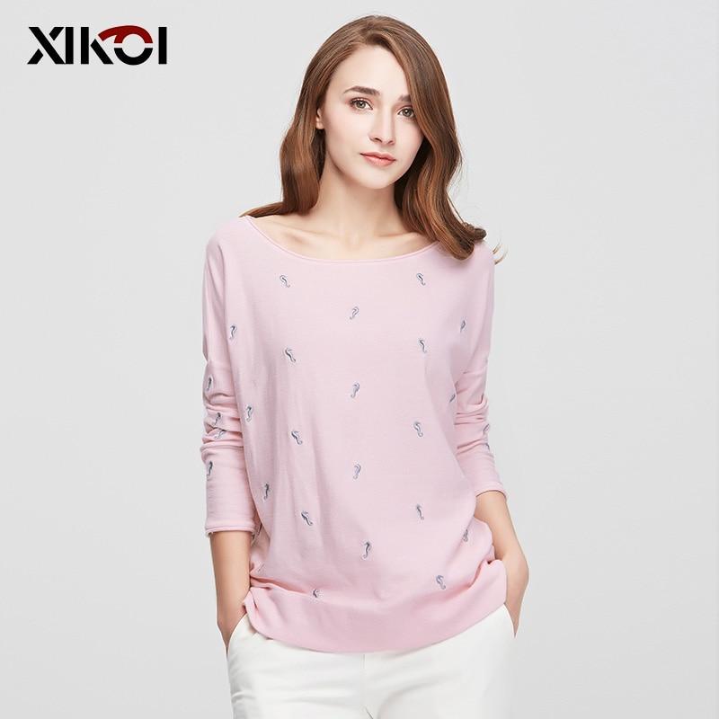 XIKOI New Design Womens Sweaters Fashion Batwing Sleeve Animal O-Neck Pullovers Computer Flat Knitted Women Sweater hxss16078
