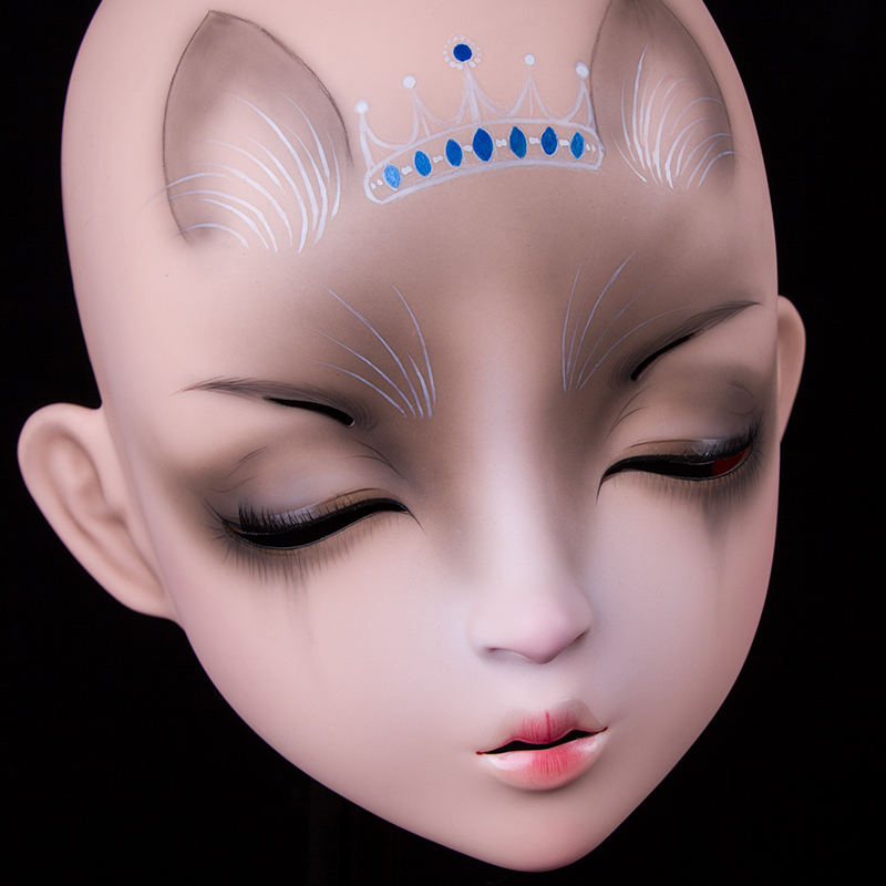 (LiLi Mask-10) Sweet Girl Resin Half Head Customize Cosplay Japanese Role Play Anime Silicone Kigurumi Mask Crossdresser Doll