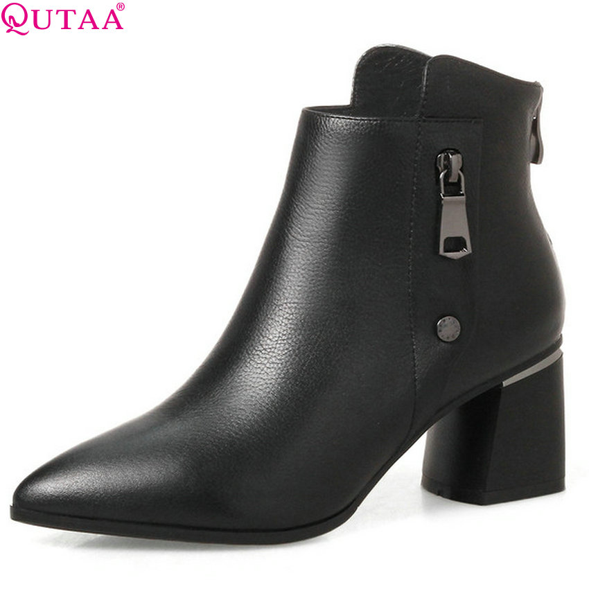QUTAA 2019 Women Ankle Boots Genuine Leather+pu Women Shoes Pointed Toe Winter Shoes Ladies Motorcycle Boots Big Size 34-42