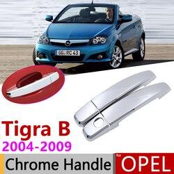 Dla Opel Tigra B 2004 ~ 2009 Vauxhall Holden TwinTop Chrome drzwi zewnętrzne osłona klamki naklejki do samochodów tapicerka zestaw 2006 2008 w Naklejki samochodowe od Samochody i motocykle na