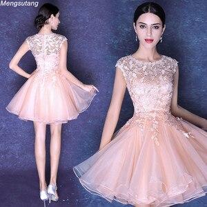 Image 1 - Robe de soiree pink & red elegant U neck evening dress lace with Appliques Formal vestido de festa Party Prom Dresses