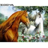 ZOOYA Sale Diamond Embroidery 5D DIY Diamond Painting Pictures Of Rhinestones Horse Couple Flowers Hobby Cross