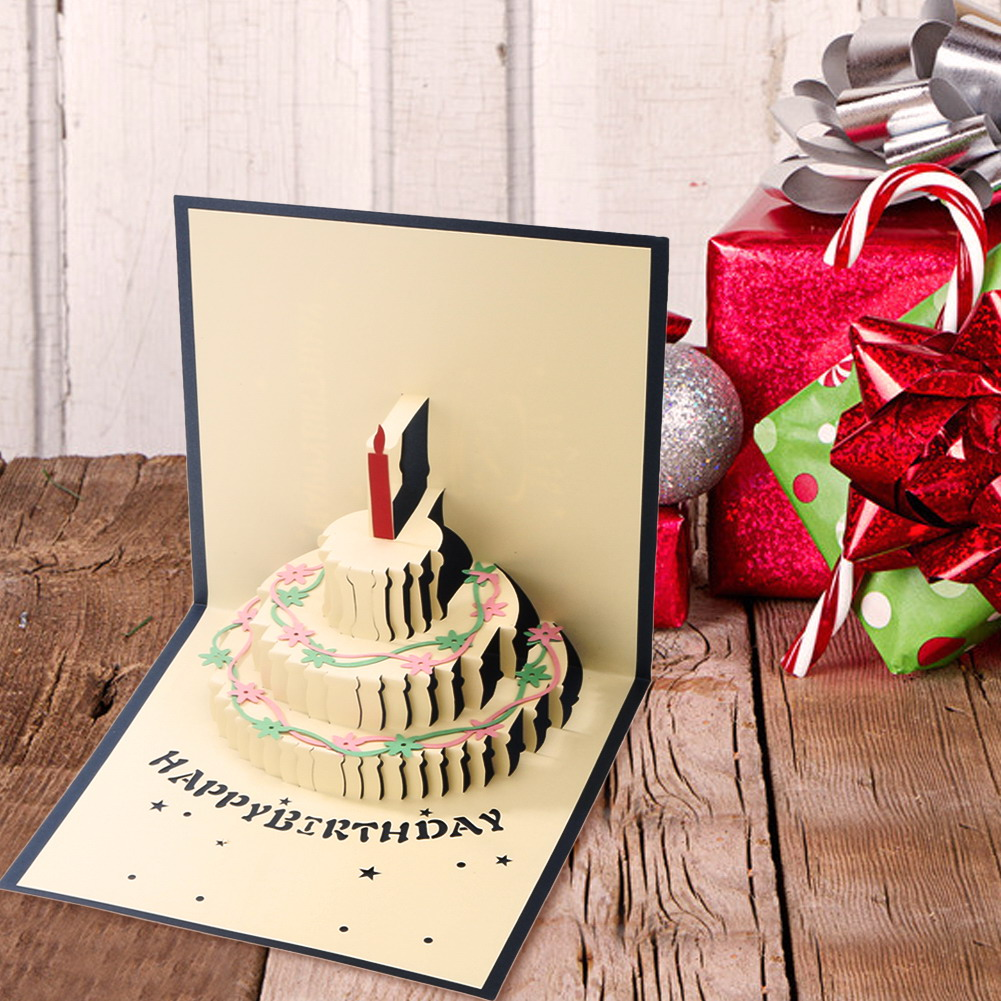 3D Pop Up Greeting Card Handmade Happy Birthday Easter Valentines Day Birthday Cake with Candle Chic Gifts Postcard bicycle lpv love promise of vow poke valentines day gifts