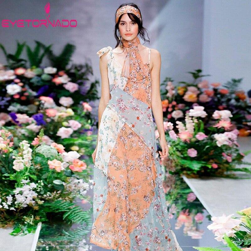 Women Sexy Strap Long Dress 2019 Floral Print Patchwork Casual Bohemian Beach Dresses Slim Elegant Vintage