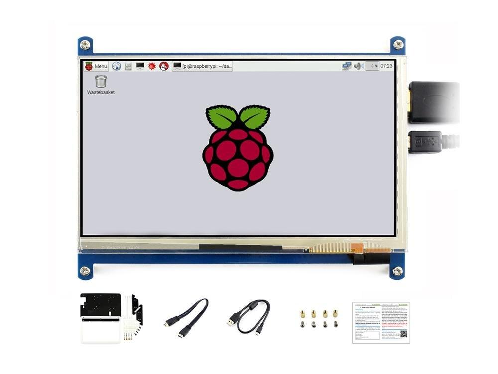 Waveshare 7 Polegada Hdmi Lcd (c) Com Bicolor Caso, Tela De Toque Capacitivo 1024*600, Para Raspberry Pi & Banana Pi, Windows 10/8. 1/8/7