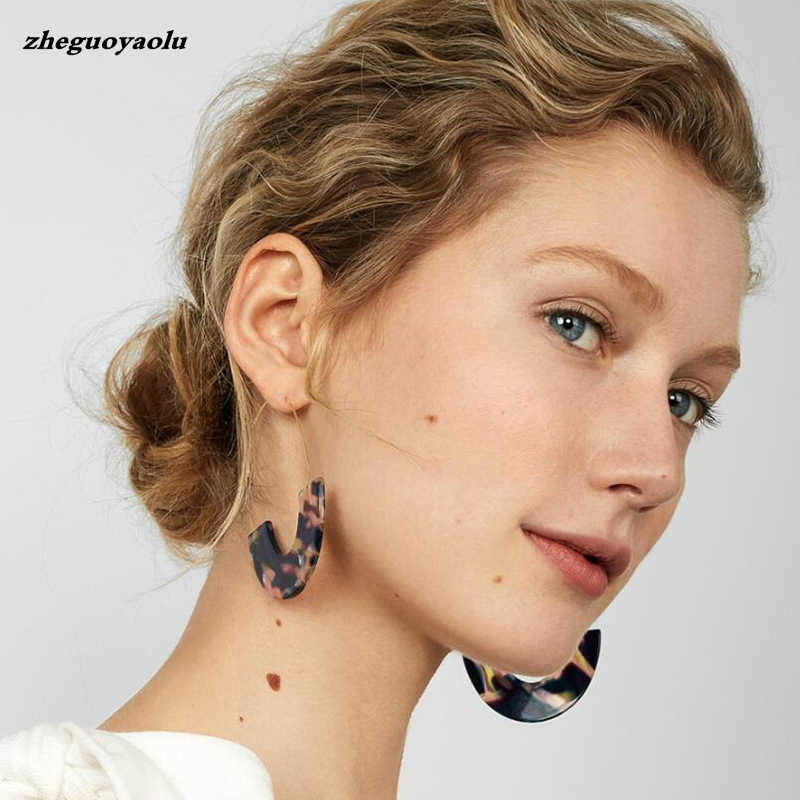New Fashion Leopard Grain Multi-color Big Hook Acrylic Earrings Special Design Semicircle Resin Drop Earring Statement Earrings