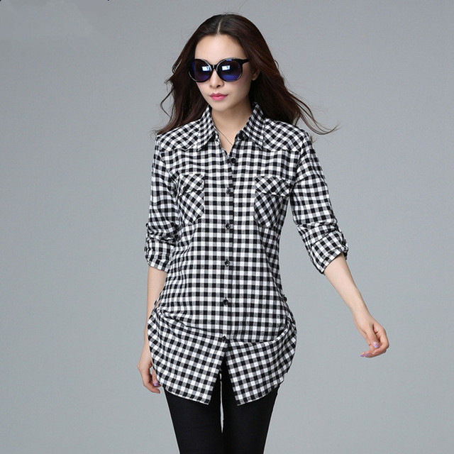 e3899314ccc Women S Plaid Blouse Women Long Sleeve Tops Plus Size Cotton Black White Plaid  Shirt Work Wear checkered Shirt Female L-6XL