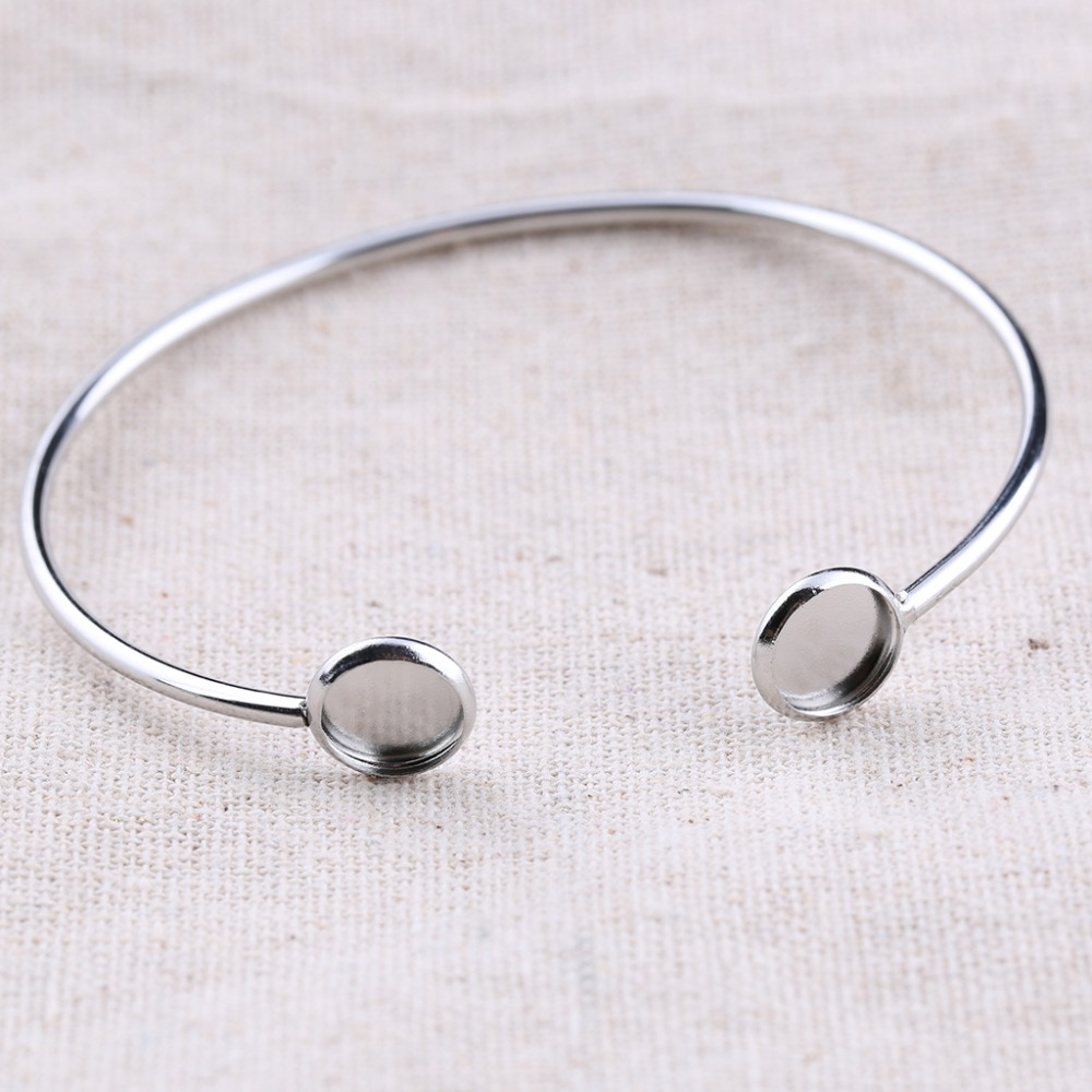 onwear 5pcs stainless steel fitting 8mm cabochon bangle base diy blank cuff bracelet setting trays for jewelry making mibrow 10pcs lot stainless steel 8 10 12 14 16 18 20mm blank french lever earring tray cabochon setting cameo base jewelry