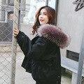 Зима Корейских женщин большой меховой воротник эластичный пояс с капюшоном свободные длинные студенты прилив пальто утолщение куртки mujer теплое пальто MZ1197