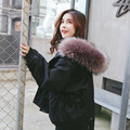 Winter Korean women's big fur collar elastic waist hooded loose long students tide coat thickening jacket mujer warm coat MZ1197