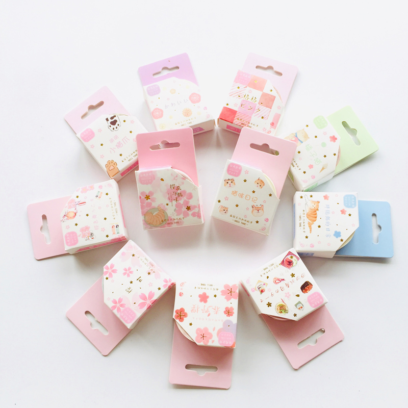 1.5cm*5m Spring Sakura Cats Masking Tape Album Scrapbooking Decor Paper Washi Tape Stick Label
