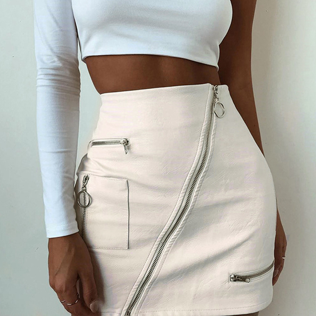 Womail Women Skirt Summer Fashion High Waist Leather Paint Zip Pencil Skinny Slim Short Sexy Mini Skirt Midi  2020  F8