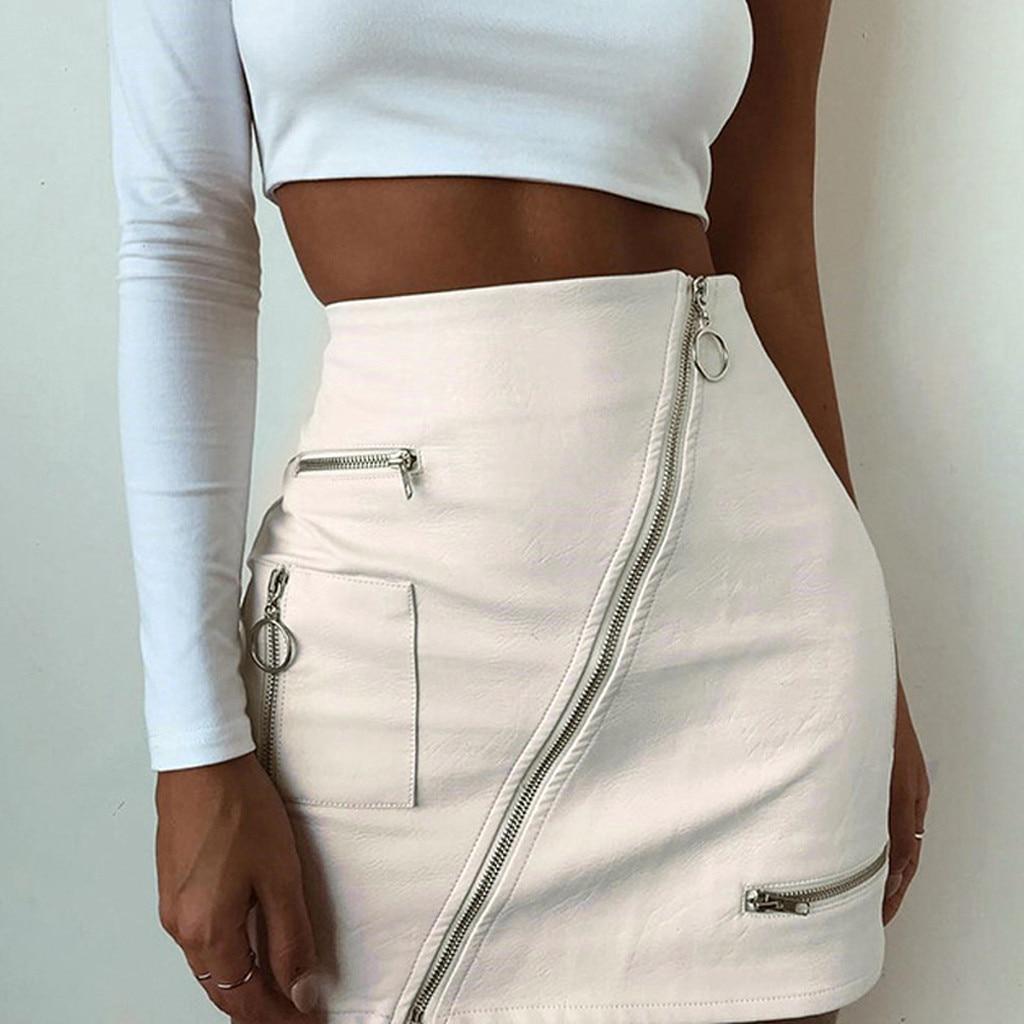 Womail Women Skirt Summer Fashion High Waist Leather Paint Zip Pencil Skinny Slim Short Sexy Mini Skirt Midi  2020  F8